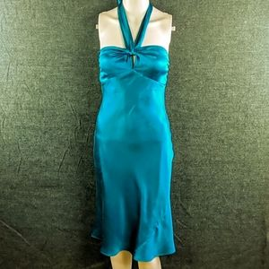 Vtg Laundry By Shelli Segal Teal Silk Halter Dress